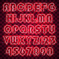 Glowing red neon alphabet and digits.