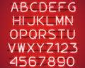 Glowing Red Neon Alphabet.