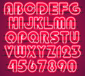 Glowing Red Neon Alphabet.