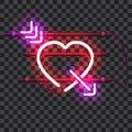 Glowing red neon heart pierced with purple arrow