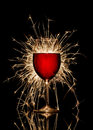 Glowing Red Wine And Firework