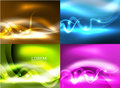 Glowing shiny wave backgrounds set