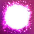 Glowing Star round frame.  It can be used as an effect in the photo. Starry sky in a circle on a pink background. Royalty Free Stock Photo