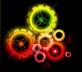 Glowing techno gears Royalty Free Stock Images