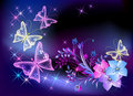 Glowing transparent flowers and butterfly Stock Image