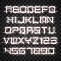 Glowing White Neon Alphabet.