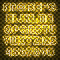 Glowing yellow neon alphabet and digits.