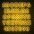 Shining and glowing yellow neon alphabet and digits.