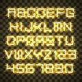 Glowing Yellow Neon Alphabet.