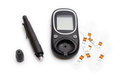 Glucometer and Syringe for Sugar Diabetes Monitoring with Copy Space Isolated Royalty Free Stock Photo