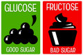 Glucose fructose difference between good and bad sugars and Royalty Free Stock Images