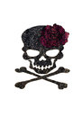 Glue and diamond dust paint be rose and crossbones on black fabric Royalty Free Stock Photo