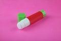 Glue Stick on Pink Royalty Free Stock Photo
