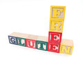 Gluten free alphabet blocks spell Royalty Free Stock Photo