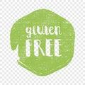 Gluten Free circle letters in grunge round background. Vector logo illustration