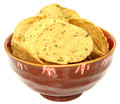 Gluten Free Jalapeno Corn Chips in Bowl Over White Stock Photo
