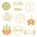 Gluten free labels vector eps hand drawn signs Royalty Free Stock Images