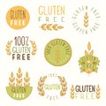 Gluten free labels vector eps hand drawn signs Stock Photos