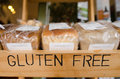 Gluten free products loaf of breads on display in a health food shop Royalty Free Stock Images