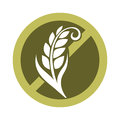 Gluten free substance in cereal grains logo in crossed circle