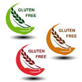 Gluten free symbols on white background. Circular silhouettes hand with spikelet.