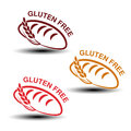 Gluten free symbols on white background. Silhouettes of bread with spikelet.