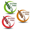 Gluten free symbols on white background. Silhouettes spikelet in a circle with shadow.