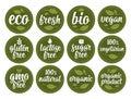 Gluten, lactose, sugar, Gmo free, bio, eco, fresh, vegan, vegetarian calligraphic lettering with leaf, cube, drop. Vector white