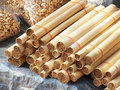 Glutinous rice roasted in bamboo joints close up Stock Photography
