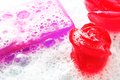 Glycerine soap with foam macro of of pink and violet Stock Photography