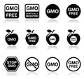 Gmo food no gmo or gmo free icons set vector of warning sign isolated on white Stock Image