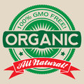 Gmo free organic vector label isolated illustration reading and all natural Stock Photography