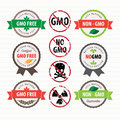 GMO Free stamps and labels set Royalty Free Stock Photo