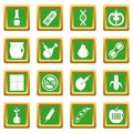 GMO icons set green