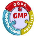 GMP. Good Manufacturing Practice. The check mark in the form of a puzzle Royalty Free Stock Photo
