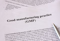 Gmp good manufacturing practice used for production and testing quality product Stock Photo