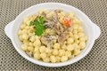 Gnocchi with mushrooms and cream Royalty Free Stock Photography