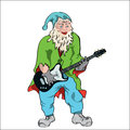 Gnom cartoon gnome with a guitar Royalty Free Stock Photography