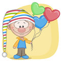 Gnome and balloons on a yellow background Royalty Free Stock Photos
