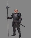 Gnome knight fantasy character in medieval armour carrying a halberd d digitally rendered illustration Stock Images