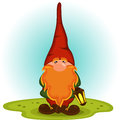 Gnome with a red beard vector illustration Royalty Free Stock Photography