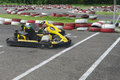 Go cart cars at the start line racer ride fast competition Royalty Free Stock Photo
