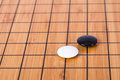Go game close up view of black and white stone pieces on chinese board Stock Image