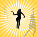 Go go dancing girls vector on retro background illustration Stock Photo