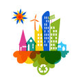 Go green colorful city recycle icon industry sustainable development with environmental conservation background illustration Royalty Free Stock Images