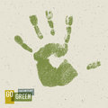 Go green concept poster handprint on recycled paper texture vector Royalty Free Stock Photography