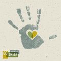 Go green concept poster with handprint symbol Royalty Free Stock Photos