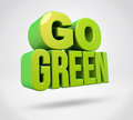 Go green d render text on white background Stock Images