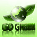 Go green eco logo with earths globe and d letters with water drops Royalty Free Stock Image