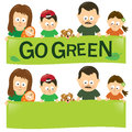 Go green family illustration of a holding a banner Stock Images